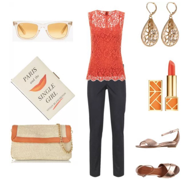Orange for summer by annaturcato featuring a red lace shirt