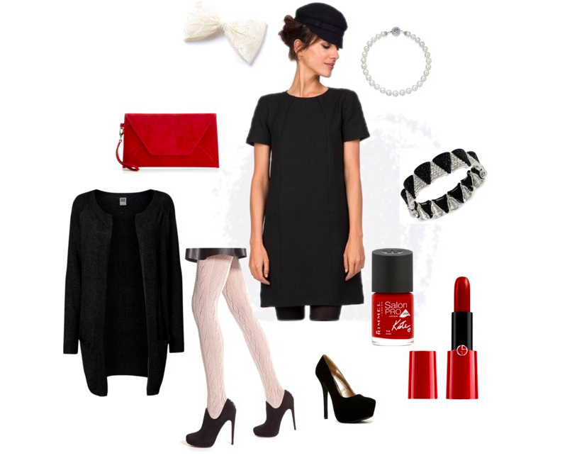 Black and white girl by annaturcato featuring a red purse
