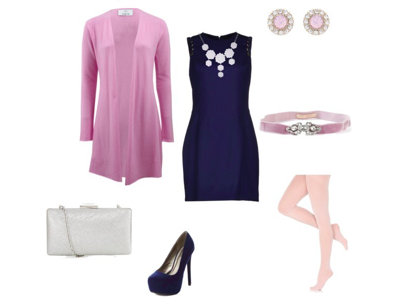 Blue dress with pink by annaturcato featuring an embellished belt