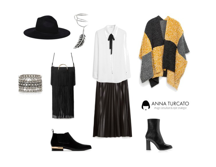 Poncho with pleated skirt by annaturcato featuring fringe handbags