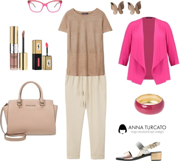 Curvy look by annaturcato featuring a beige t shirt