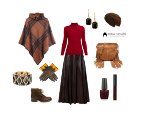 Poncho and long skirt by annaturcato featuring lace up booties