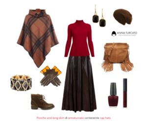 Poncho and long skirt di annaturcato contenente cap hats